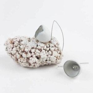Kolczyki porcelanowe perłowo szare
