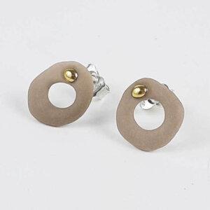 Kolczyki porcelanowe RING sztyfty beżowe